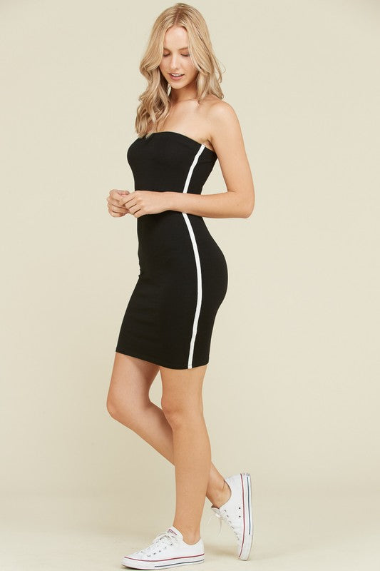 Side Stripe Tube Dress in Black | Necessary Clothing
