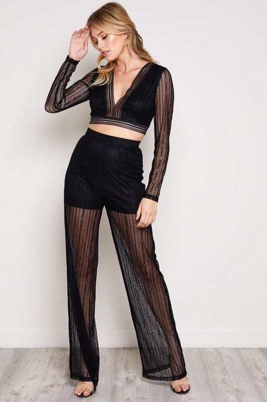You're Gonna Mesh Me Matching Pant Set in Black | Necessary Clothing