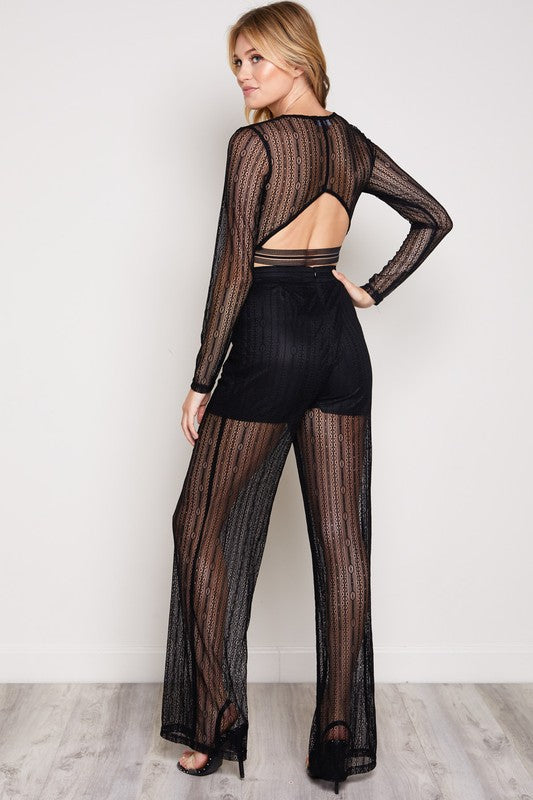 You're Gonna Mesh Me Matching Pant Set in Black