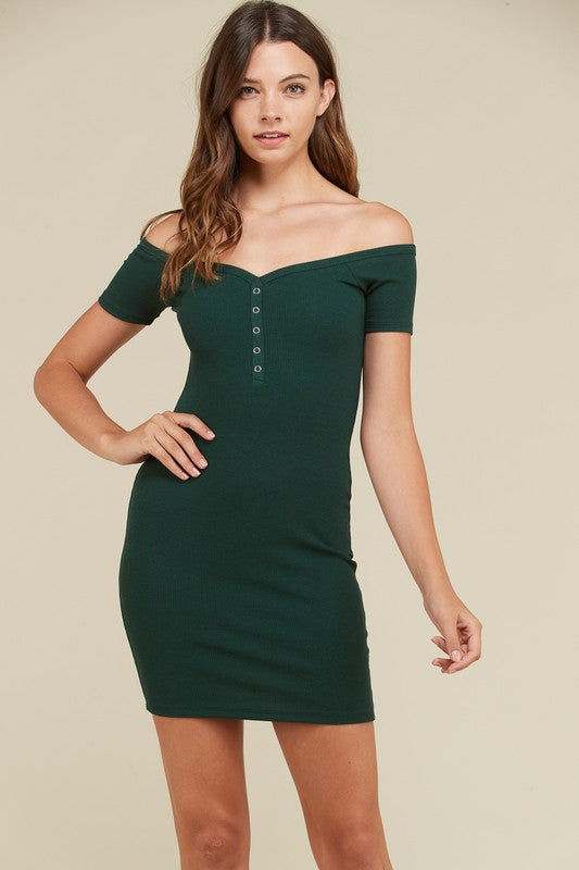 Cozy Cotton Bodycon Off Shoulder Dress in Pine Tree | Necessary Clothing