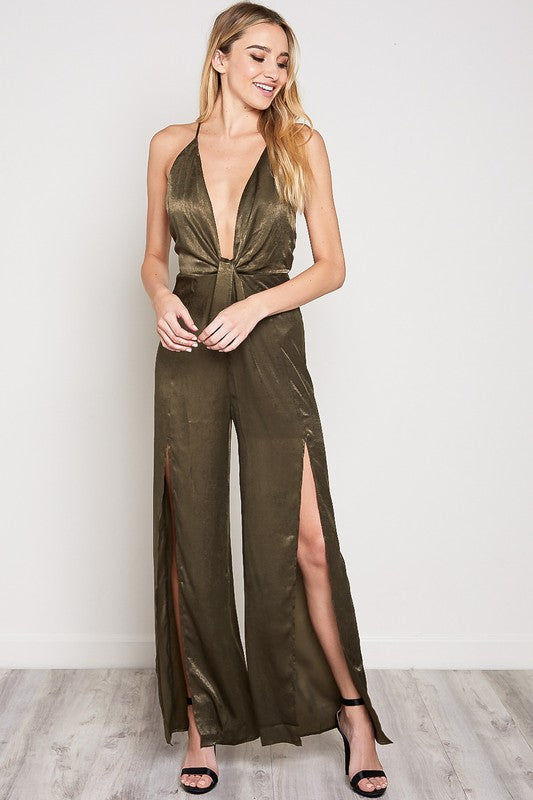 Eyes Are Up Here Satin Jumpsuit in Olive | Necessary Clothing