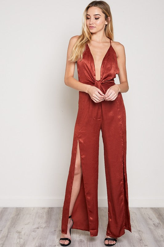 Eyes Are Up Here Satin Jumpsuit in Rust | Necessary Clothing