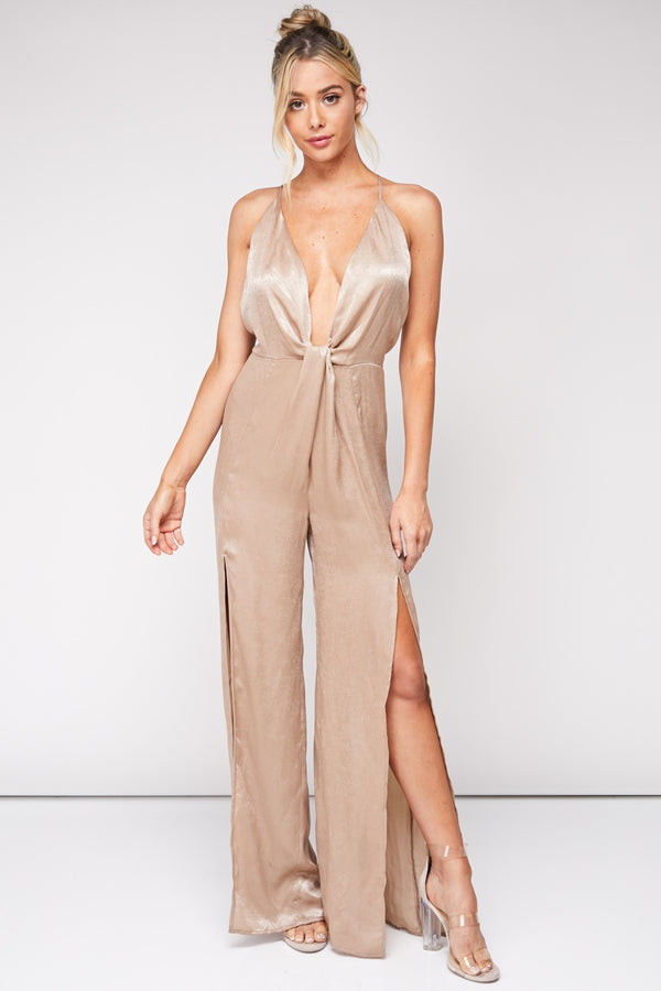 Eyes Are Up Here Satin Jumpsuit in Taupe | Necessary Clothing