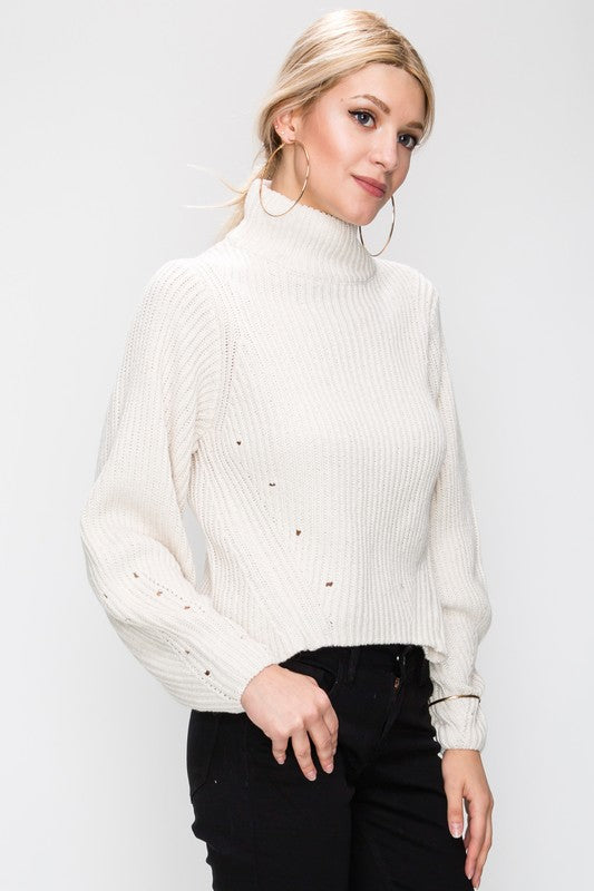 Hole The Phone Turtleneck Sweater in Oatmeal