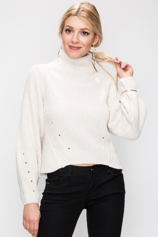 Hole The Phone Turtleneck Sweater in Oatmeal | Necessary Clothing