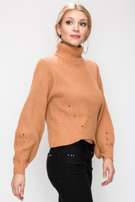 Hole The Phone Turtleneck Sweater in Apricot | Necessary Clothing