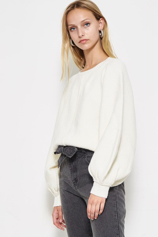 Aim To Sleeve Knit Sweater in Vanilla | Necessary Clothing
