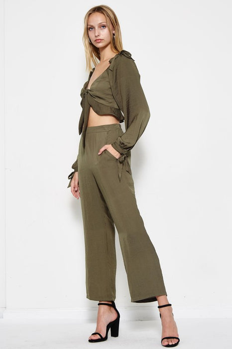 To Tie For Matching Pant Set in Khaki