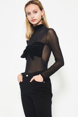 Let's Mesh Around Bodysuit in Black