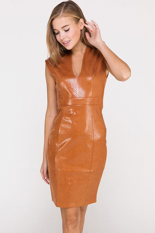 In Like Sin Faux Snakeskin Dress in Camel | Necessary Clothing