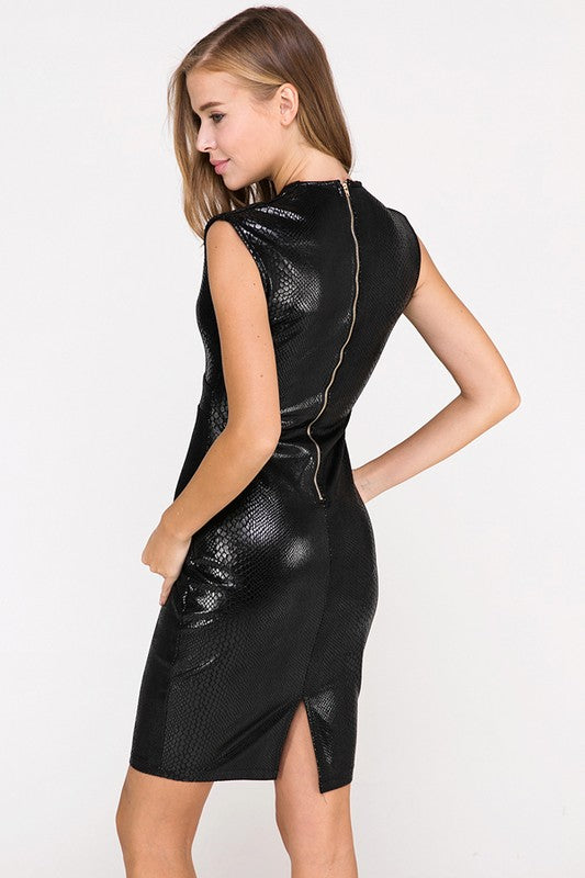 In Like Sin Faux Snakeskin Dress in Black | Necessary Clothing