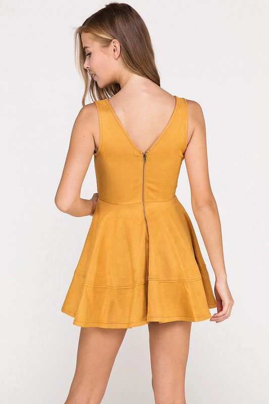 Have It Your Suede Flare Dress in Mustard | Necessary Clothing