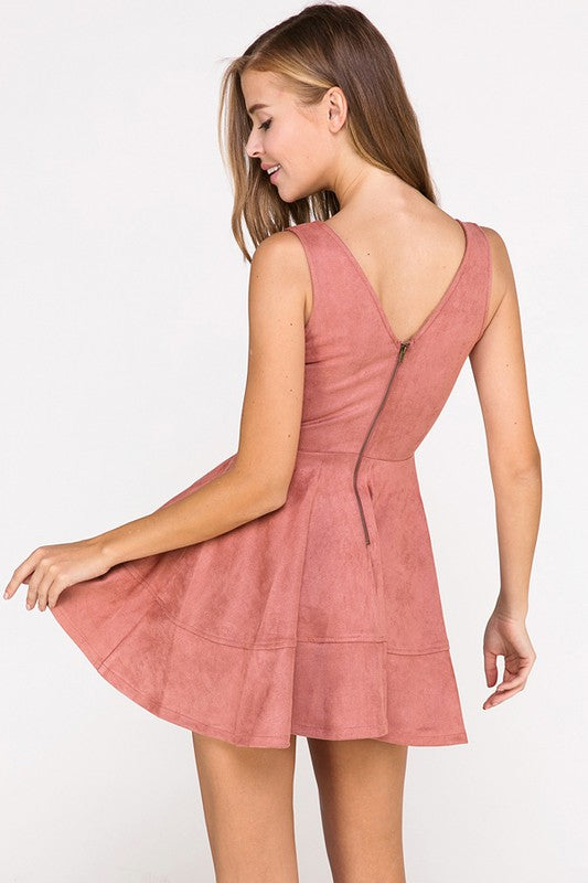 Have It Your Suede Flare Dress in Mauve | Necessary Clothing