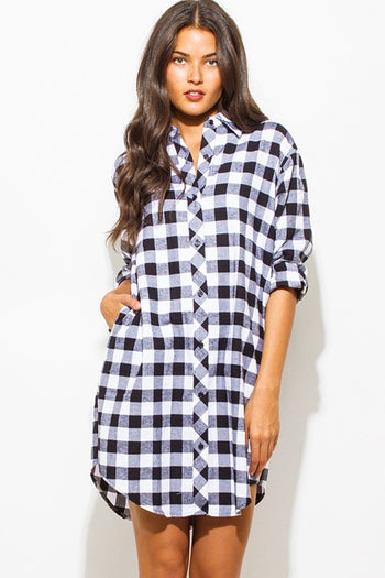 Lumberjack Button Up Dress in Black/White | Necessary Clothing