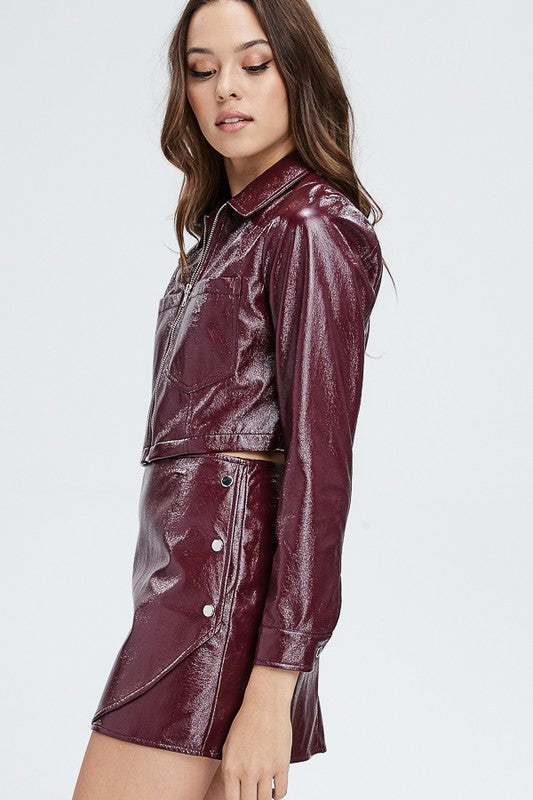 Faux Leather Or Worse Cropped Jacket in Burgundy