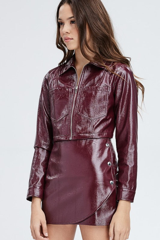 Faux Leather Or Worse Cropped Jacket in Burgundy | Necessary Clothing