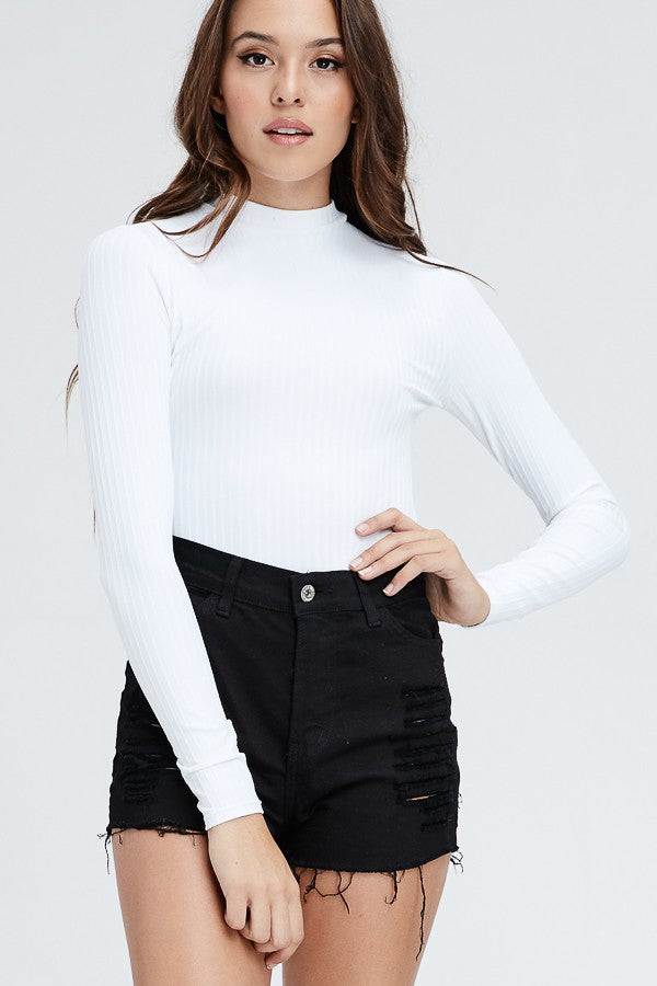State Of Mind Mock Neck Bodysuit in White | Necessary Clothing