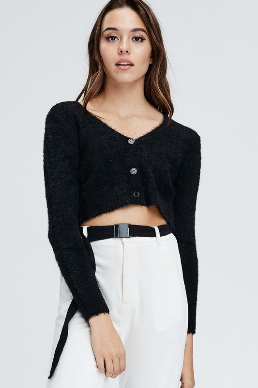 Fuzzy Baby Sweater Top in Black | Necessary Clothing
