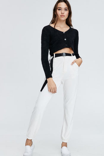 Cigarette Break Knit Pants in Ivory | Necessary Clothing