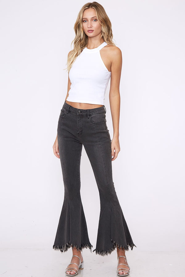 Peace of Flare Cropped Jeans in Charcoal