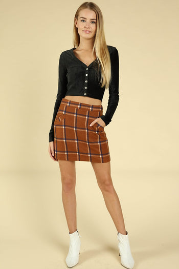 School Belle Plaid Skirt in Rust | Necessary Clothing