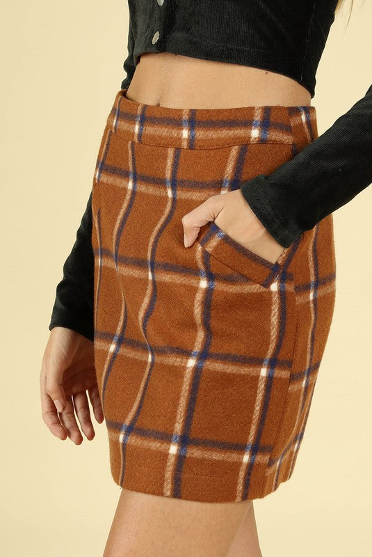 School Belle Plaid Skirt in Rust