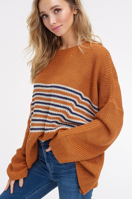 Of The Same Stripe Pullover Sweater in Brick