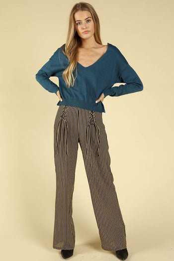 Lucky Stripe Lace Up Pants in Black | Necessary Clothing