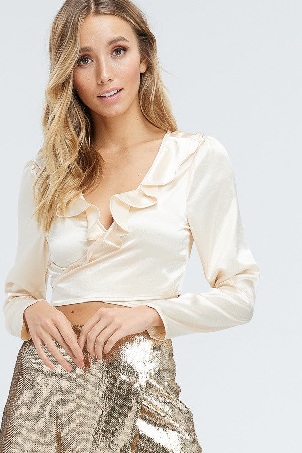 Cupid Ruffle Wrap Top in Champagne | Necessary Clothing