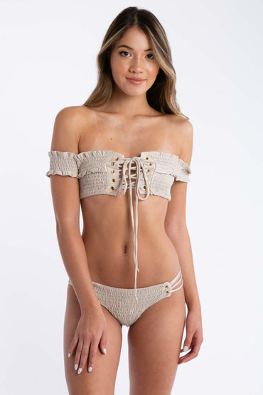Take A Peek Two Piece Swimsuit in Champagne | Necessary Clothing