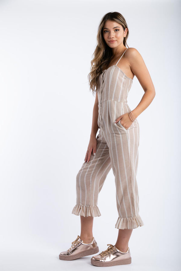 Candy Striper Jumpsuit in Taupe | Necessary Clothing