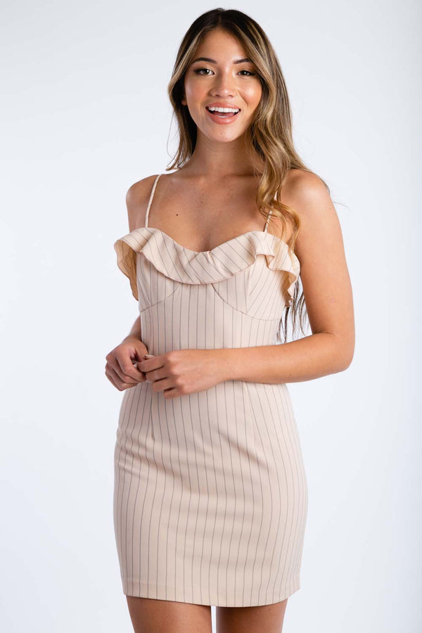 Lip Bite Pinstripe Dress in Nude | Necessary Clothing