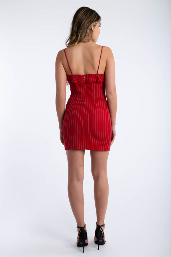 Lip Bite Pinstripe Dress in Red | Necessary Clothing