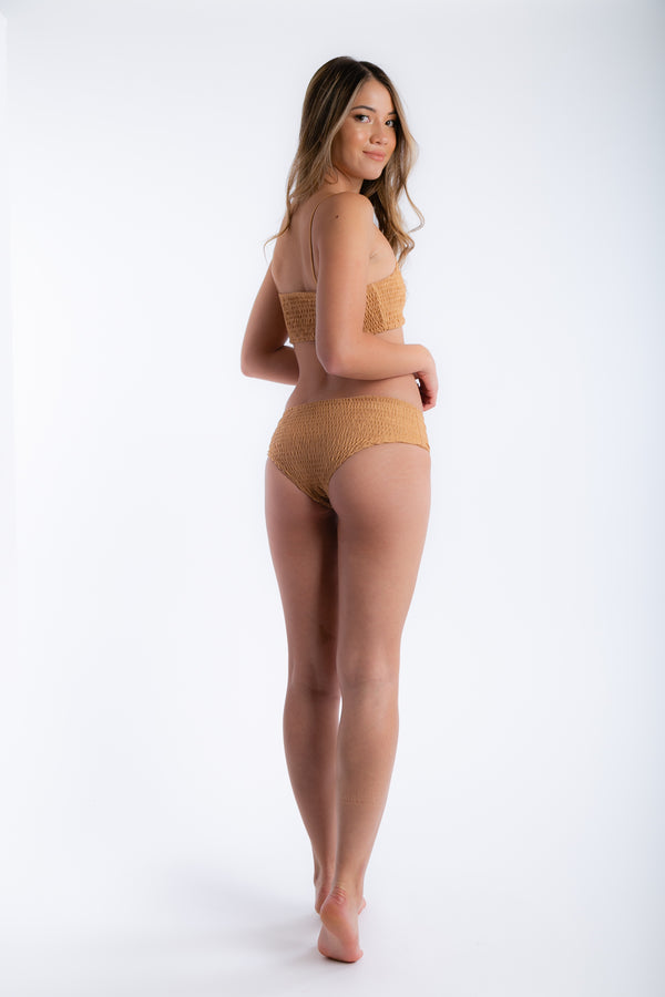 Shirred You Are Two Piece Swimsuit in Gold | Necessary Clothing