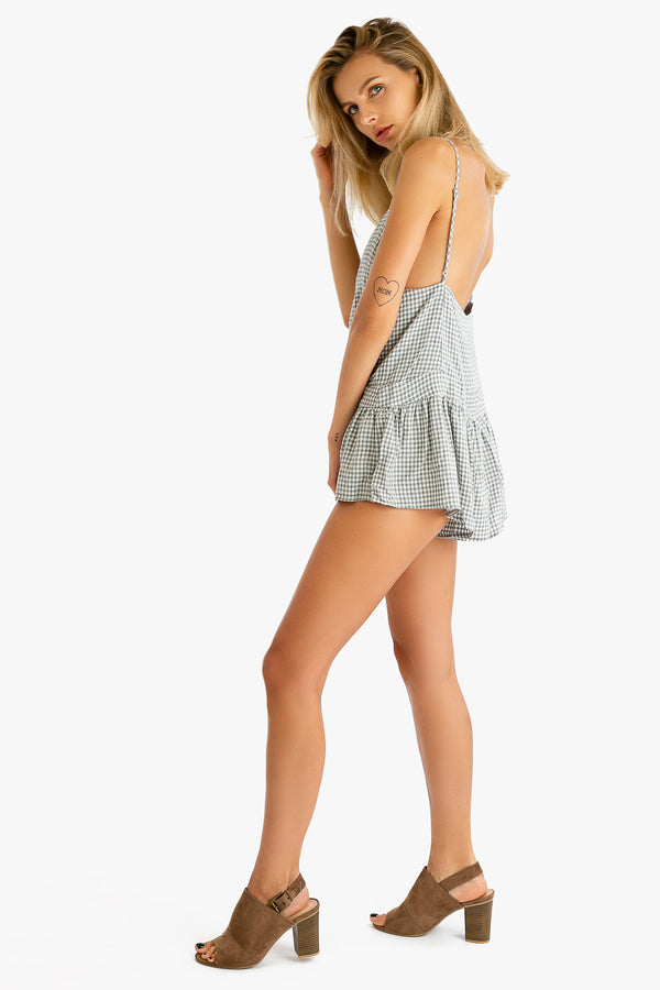 Fairly Plaid Romper in Grey | Necessary Clothing