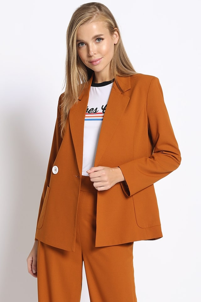 Open For Business Suit Jacket in Rust