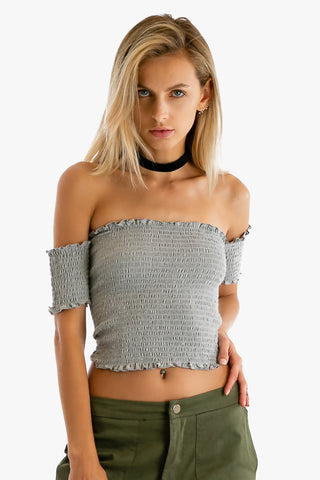 Good Vibes Off Shoulder Crop Top in Gray