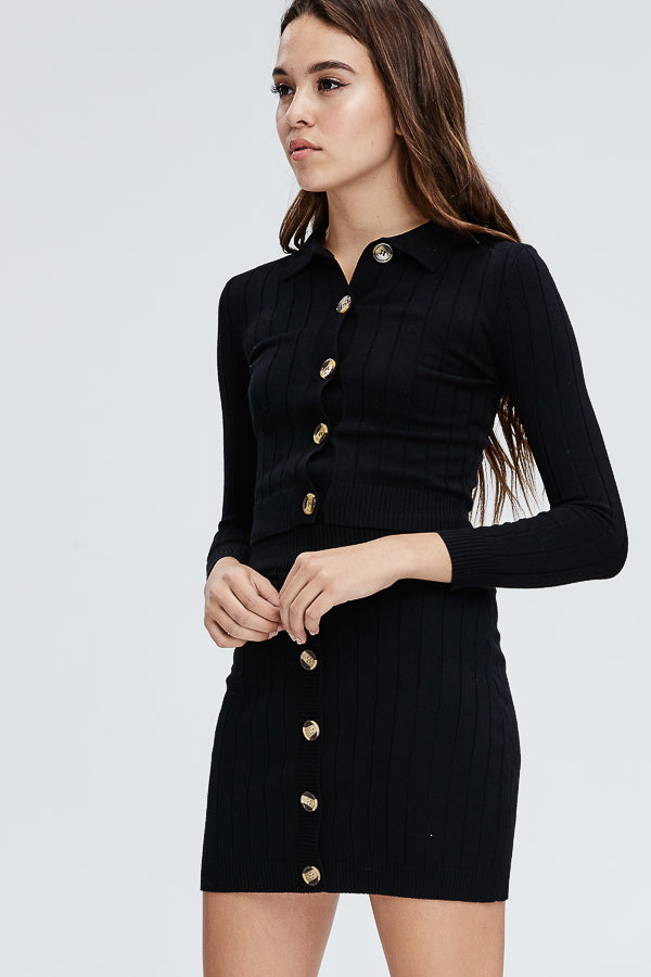 Sweater Spice Button Up Top in Black