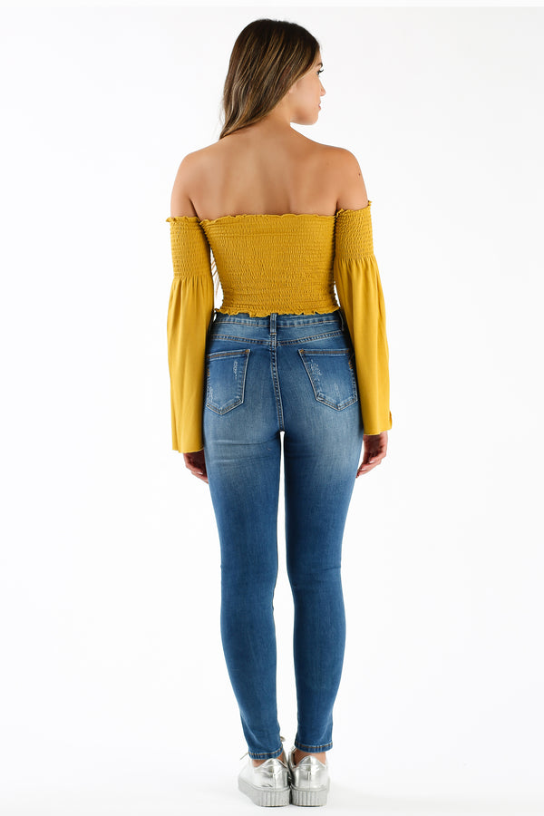 La La Land Long Sleeve Crop Top in Mustard | Necessary Clothing
