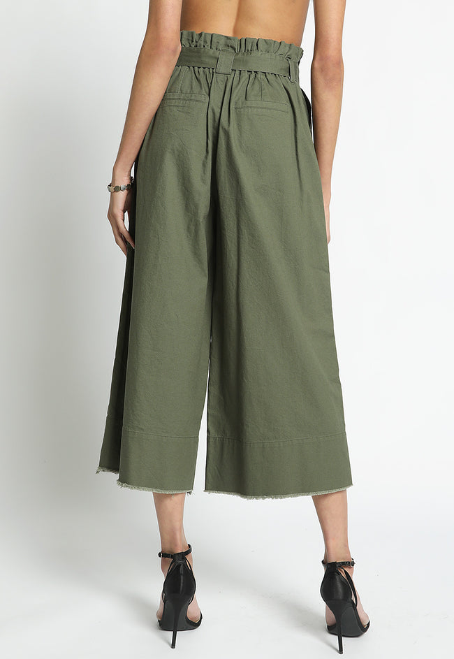 Crop Circle Palazzo Pants in Olive