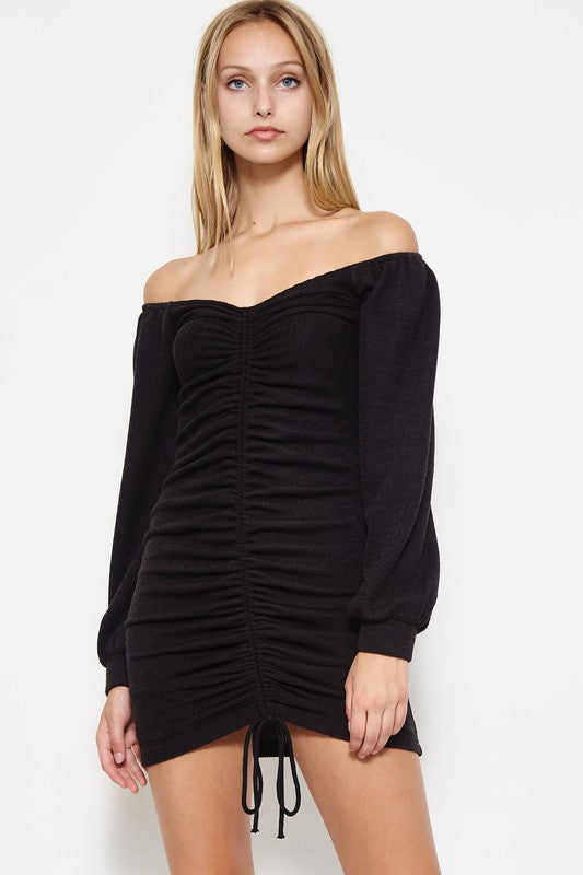 Get A Ruche Cold Shoulder Dress in Black | Necessary Clothing