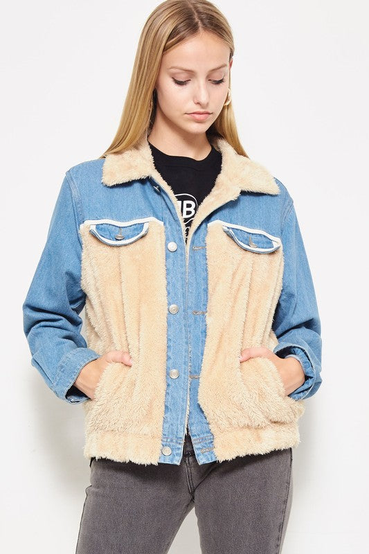 Teddy To Go Jacket in Denim | Necessary Clothing