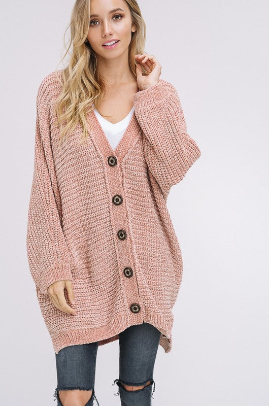 Lets Get Comfortable Knit Button Down Cardigan in Blush | Necessary Clothing