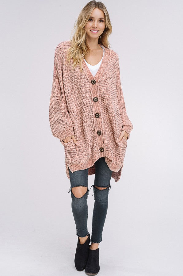 Let's Get Comfortable Knit Button Down Cardigan in Blush