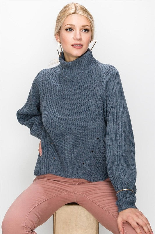 Hole The Phone Turtleneck Sweater in Smokey Blue | Necessary Clothing