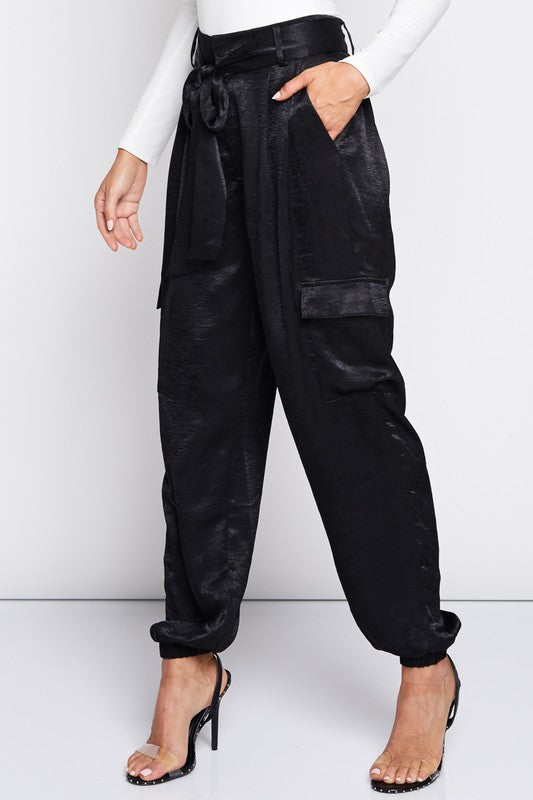 Rise And Shine Satin Jogger Pants in Black | Necessary Clothing
