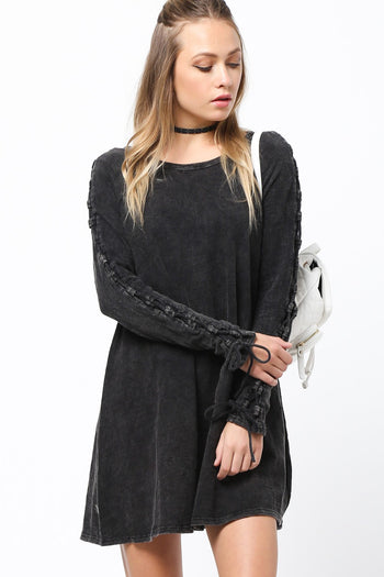 Lace Me Up Long Sleeve Dress in Black | Necessary Clothing