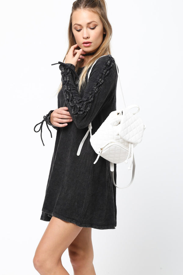 Lace Me Up Long Sleeve Dress in Black