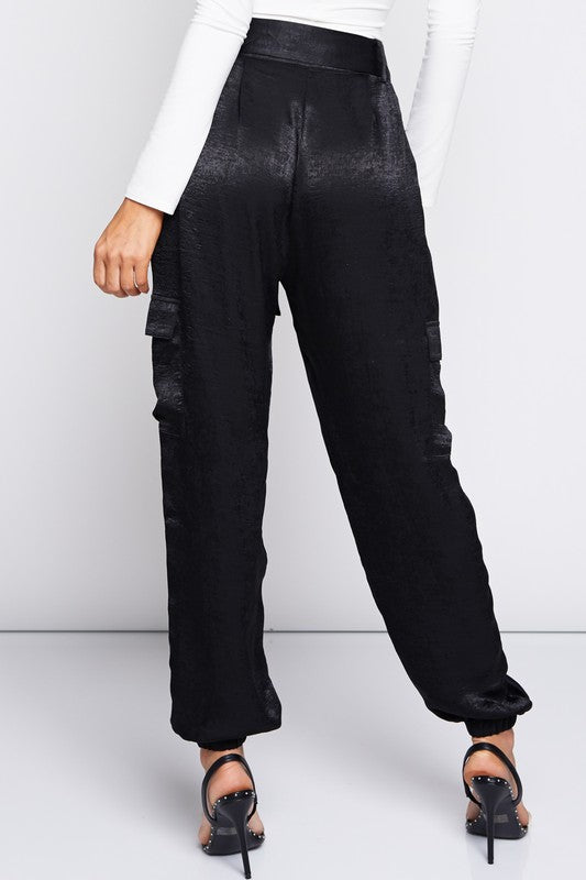 Rise And Shine Satin Jogger Pants in Black