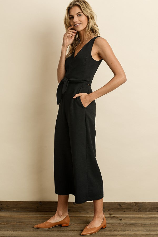 Posh Professional Cropped Jumpsuit in Black